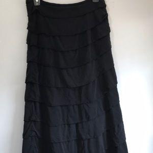 Mermaid scallop ruffle black skirt